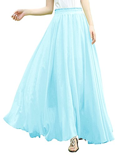 Stretch Taffeta Skirt (v28 Women Full/Ankle Length Elastic Pleated Retro Maxi Chiffon Long Skirt (Ice Blue, S))