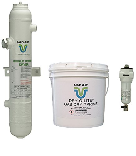 Van Air Systems 80-1499 D4 Compressed Air Dryer, Includes 1 µm F200 Series After-Filter and 1 18 lb Pails of Dry-O-Lite Desiccant, No Power Requirement/Moving Parts, Outdoor or Indoor, 10 CFM, 3/4' NPT, White (Pack of 3)