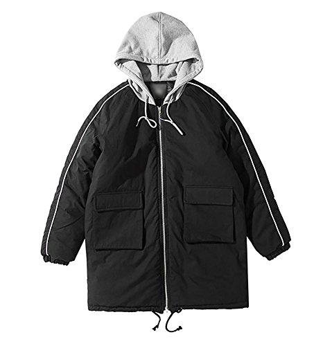 acolchado los exteriores con M algodón invierno m hombres cálido vestir de prendas de capucha casual cremallera abrigo espesar black XL xIRxr