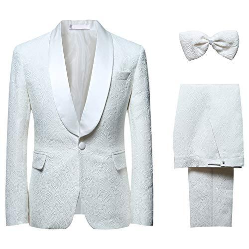 YFFUSHI Men's 1 Button 2 Piece White Tuxedo Shawl Collar Skinny Dress (XXXXXX-Large, White 1)