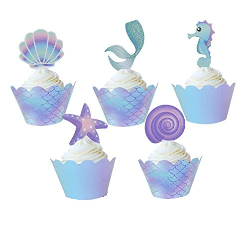 Mermaid Cupcake Topper and Wrapper Party Cake Decorations