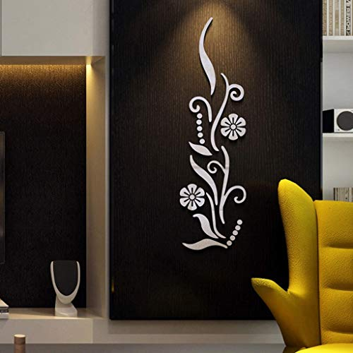 EOWEO Mural,Flower Bathroom Acrylic Mirrored Decorative Sticker Wall Art Mirror Secor Room -