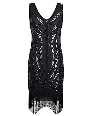 PrettyGuide Women 1920s Vintage Black Sequin Embellished Curve Fringe Gatsby Dress