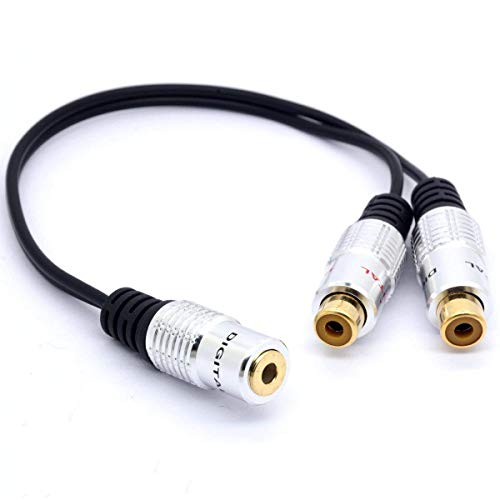 Gold Plated 3.5 to RCA Stereo Audio Splitter Cable 3.5mm Female Jack to 2 Phono RCA Female Socket Y Adapter for Car, Amplifier, Speaker, DVD, 8 Inches/20 cm(3.5mm Female to 2RCA Female) ()