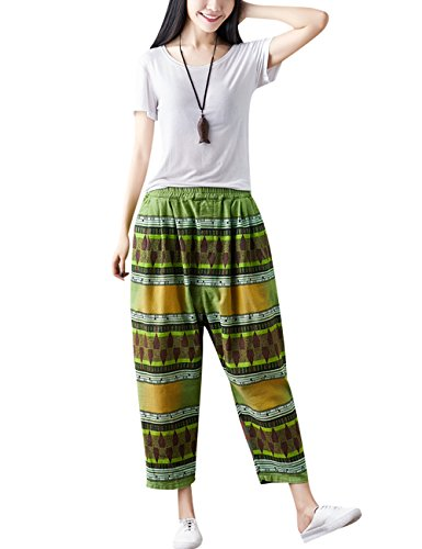 Youlee elastique Pantalon Femmes Taille Ray Crotch Vert t Sarouel Big rWa4nwqr