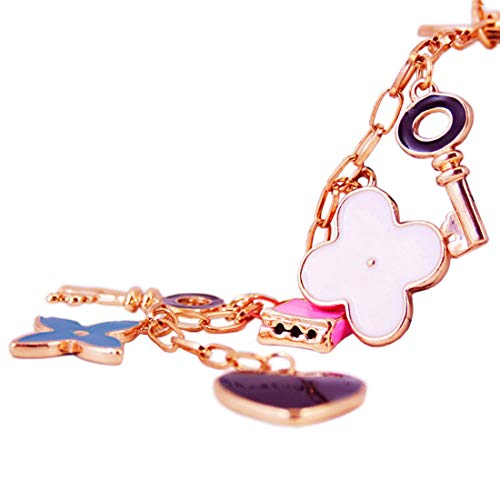 Handbag Decoration - Jzcky Shzrp Happy Lock Four Leaf Clover Crystal Rhinestone Fashion Keychain Key Chain Sparkling Key Ring Charm Purse Pendant Handbag Bag Decoration Holiday Gift