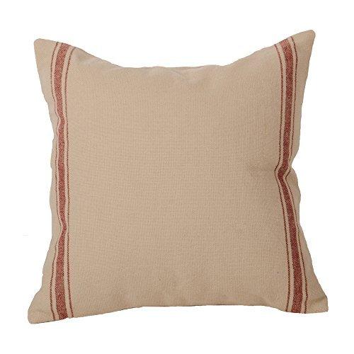 Home Collections by Raghu 14x14 Stripe Barn Red Pillow Grain Sack [並行輸入品] B07RCDQZ8V