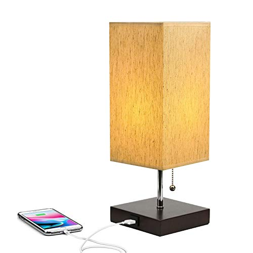 USB Bedside Table Fabric Shade Lamp with Charging Port ...