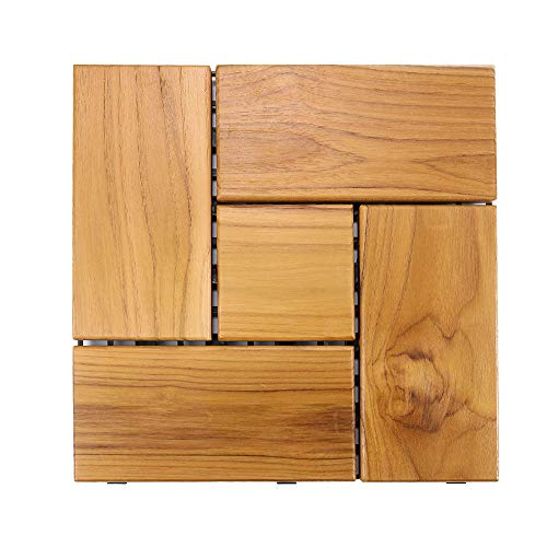 Teak Flooring Tiles, Easy Install Wood Interlocking Flooring Tiles 12 x 12 Inch for Indoor or Outdoor by HTB (Pack of 1)