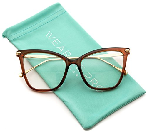WearMe Pro - New Elegant Oversized Clear Cat Eye Non-Prescription Glasses (Clear Brown, 51)
