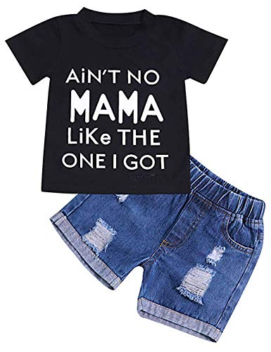 GRNSHTS Baby Boy Letter Clothes Summer Short Sleeve Tops Denim Pants Shredded Jeans Outfit (Black, 12-18 Months)