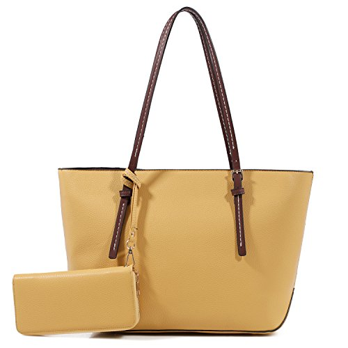 - DELUXITY Amber Zippered Tote Shoulder Bag with Matching Clutch Wallet - 2 Item Set (Mustard)