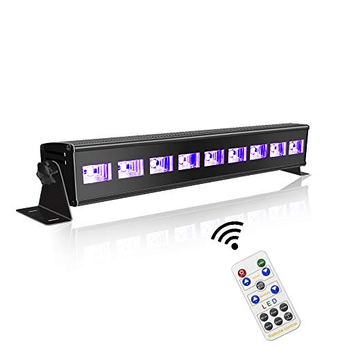 60 ft-Remote UV Black Light for Parties, JLPOW Super Bright 27W Dimmable Sound Activated Black Lights, DMX Control 9 LED UV Bar Blacklight,Best for Glow Dance Party Birthday Wedding DJ Stage Lighting -