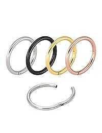 "4-8Pcs Stainless Steel 3/8"" (10MM)16G Nose Ring Body Piercing Ear Seamless Segment Clicker Sleeper Hoop Earrings Ring"