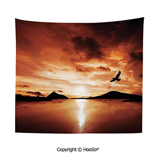 Needlepoint Brown Paisley (Durable Washable and Reusable tapestry wall hanging carpet 59x79in,A Sea Bird Flies Off into the Amazing Sunset Cloudy Sky Sun Reflection on Surface,Brown Yellow Comfy and No Strange Odor home decor)