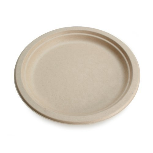 """Earth's Natural Alternative Wheat Straw Fiber, Bagasse (Sugarcane) Tree Free 9"""" Round Plate, 500/Case by Earth's Natural Alternative"""