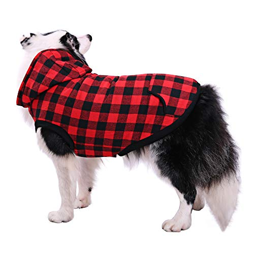 Phyxin Dog Jacket Cold Weather British Plaid Hooded Dog Coat Winter Warm Soft Fleece Dog Vest Pet Clothes for Small Medium Large Dogs Red -