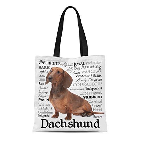 Semtomn Cotton Line Canvas Tote Bag Dog Dachshund Traits Pet Animal Breed Hound Weiner Reusable Handbag Shoulder Grocery Shopping Bags