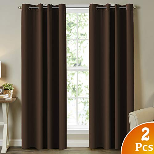 Thermal Insulated Solid Grommet Blackout Curtains/Drapes for Livingroom Three Pass Microfiber Noise Reducing Energy Saving Room Darkening Curtains, 2 Panels, 52 Wide by 84 Length, Brown