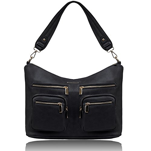 Small Pocket Hobo (YOLANDO Womens Vegan PU Leather Slouchy Hobo Tote Bag with Zip Closure and Zippered Pockets, Casual Roomy Shoulder Handbag for Ladies, Black)