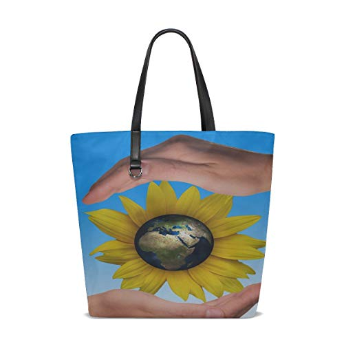 Price comparison product image YUMOING Women Hands Protect Protection Sunflower Globe Earth Handle Satchel Handbags Shoulder Bag Tote Purse Messenger Bags