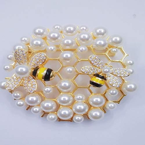 V-MONI copper plated gold beaded brooch fashion wild bee nest brooch jewelry shawl buckle silk scarf buckle