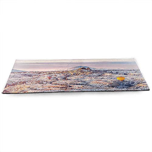 (Winter Eco Friendly Yoga Mat Cappadocia Turkey Landscape with Hot Air Balloons Anatolia Valley Geology Tourism for All Types of Yoga, Pilates & Floor Exercises W24 x L70)