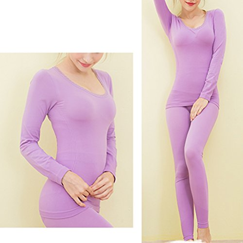 Zhhlaixing Hot Fashion Mujeres Lined Shirt and Pants Thin Slim Seamless Thermal Underwear Set Light Purple