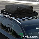 Topline Autopart 49″ Black Square Type Roof Rail Rack Cross Bar Kit+Cargo Carrier Luggage Basket T1