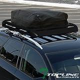 Topline Autopart 52'' Black Square Type Roof Rail Rack Cross Bars Kit W/Cargo Carrier Basket+Bag T1