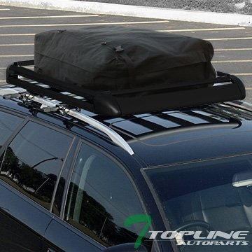 Topline Autopart 52'' Black Square Type Roof Rail Rack Cross Bars Kit W/Cargo Carrier Basket+Bag T1 by Topline_autopart