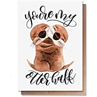 Wunderkid You're My Otter Half, Funny Valentines Day Card Love Pun (Individual, Blank inside)