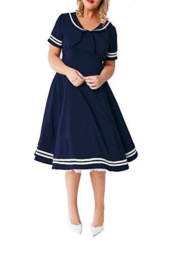 KISSMILK Womens Plus Size Solid Lacing Dress(US16,Navy Blue) - Plus Size Designers