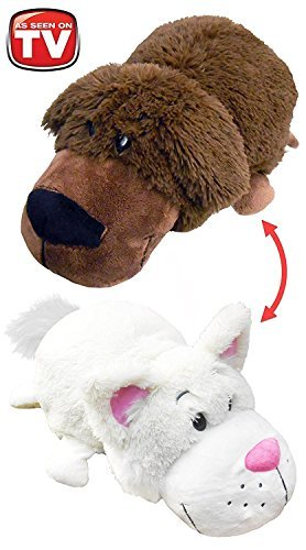 Original - 1 Pack - FlipaZoo 16'' Plush 2-in-1 Pillow - Chocolate Labrador Transforming To White Cat (the Toy that Flips for you)