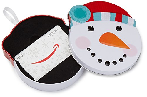 Amazon.com $100 Gift Card in a Snowman Tin (Available Paper)