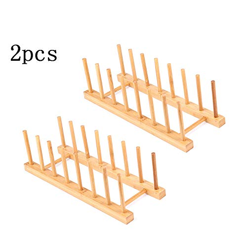 2Pack Bamboo Wooden Dish Rack, Plate Rack Stand Pot Lid Holder, Kitchen Cabinet Organizer for Cup, Cutting Board, Bowl, Drying Rack and book hook
