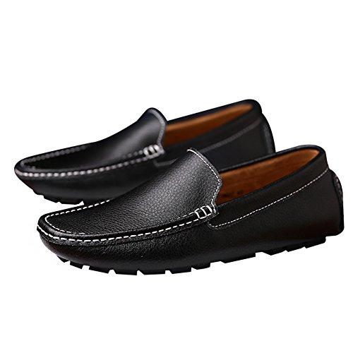 Rismart Hommes Doux Split Cuir De Grain Chaussures De Mocassins De Conduite Confortable Mocassins Pantoufles Bateau Chaussures Noir Sn9100 Us10