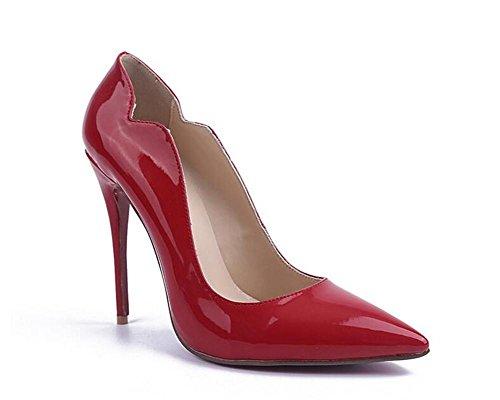 RED Tacón de roja Alto Zapatos de de Red 37 de 40 para Piel Alto XIE Zapatos Tacón Mujer Pintura qxATERwggn