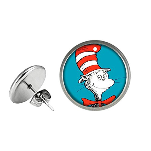 Dr Seuss Post Stud Silvertone Premium Quality Earrings TV Movies Classic Cartoons Thing 1 an 2 Lorax Cat in the Hat for $<!--$10.97-->