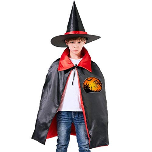 Halloween Children Costume Creepy Halloween Wizard Witch Cloak Cape Robe And Hat Set -