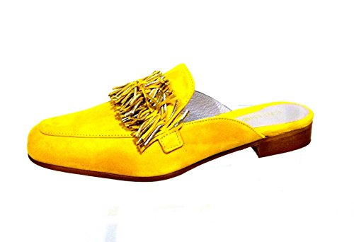 Laminated KED525 1958 Fringes Sabot Noir Giallo with Suede Cafè x0CwXqT5