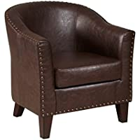 Pemberly Row Faux Leather Accent Chair in Brown
