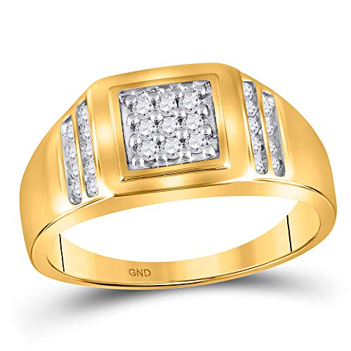 (The Diamond Deal 14kt Yellow Gold Mens Round Diamond Square Cluster Ring 1/4 Cttw)