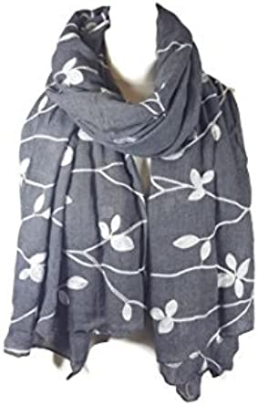 NEW Ladies Embroidered Floral Scarf Maxi Wrap Shawl Pashmina Soft Warm Black