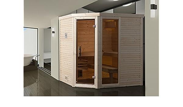 Weka 536 Diseño Sauna cubilis 2, Line de perfil de vidrio con puerta y ventanas, 536.2020.52101, natural sin tratamiento: Amazon.es: Bricolaje y herramientas