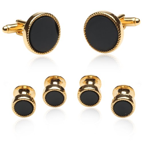 Cuff-Daddy Black Onyx and Gold Plated Cufflink and Stud Set with Presentation Box