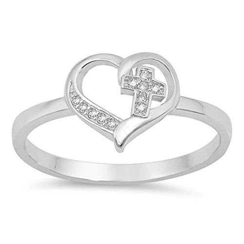 Sterling Silver Simple Cross Heart CZ Promise Purity Ring Sizes -