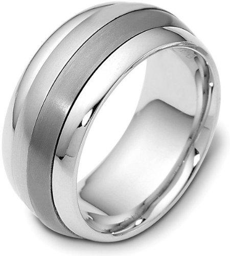 (Titanium & 14 Karat White Gold Designer SPINNING Wedding Band Ring - 575)