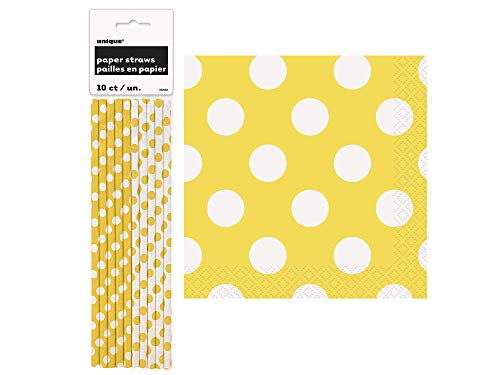 UNIQUE - Yellow Polka Dot Set of 10 Paper Straws and Set of 16 Beverage Napkins -
