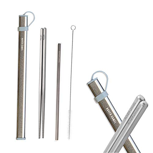 Rover camel 1 Pair of Ultra Lightweight Reusable hollow Pure titanium Chopsticks and 1 Pure titanium Straw,with Free Aluminium Case Strong Healthy (Gray-Pure titanium)